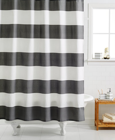 Grey White Striped Shower Curtain. Kassatex Hampton Striped Shower Curtain  Curtains Bed