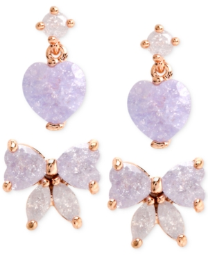 Betsey Johnson  GOLD-TONE PURPLE BOW AND HEART STUD EARRING SET