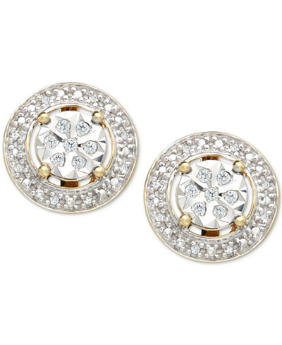 Diamond (1/10 ct. t.w.) Halo Stud Earrings in 10k Gold