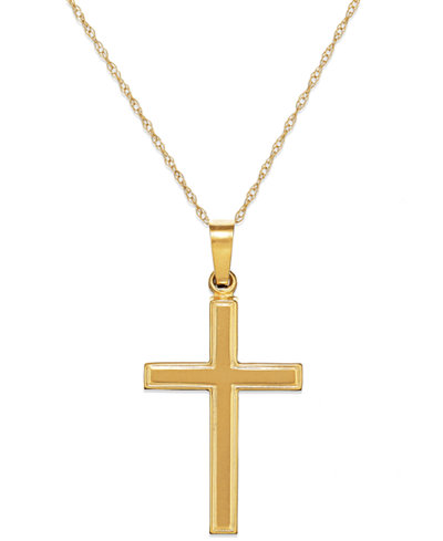 Traditional cross pendant necklace in 14k gold necklaces jewelry traditional cross pendant necklace in 14k gold aloadofball Gallery