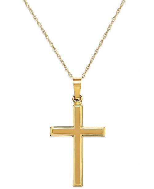 cc852d590b610 Macy s Gold Cross Charm Pendant in 14K Gold   Reviews - Women - Macy s