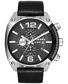 Diesel Men's Chronograph Overflow Black Leather Strap Watch 49mm DZ4341