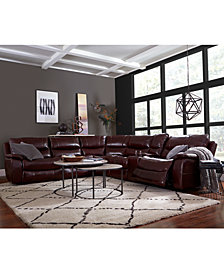 CLOSEOUT! Daren Leather Power Reclining Sectional Sofa Collection, Created for Macy's
