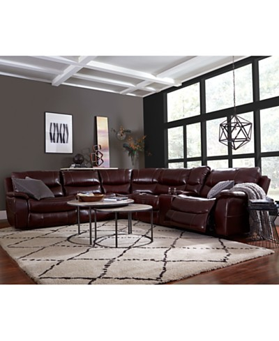 Daren Leather Power Reclining Sectional Sofa, Collection, Created for Macy's