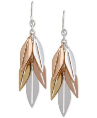 Image of Hint of Gold Tri-Tone Leaf Drop Earrings in 14k Gold and Silver-Plated Metal