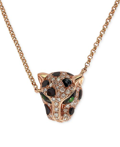 EFFY Collection EFFY® Diamond (1/6 ct. t.w.) and Emerald Accent Panther Pendant Necklace in 14k Rose Gold