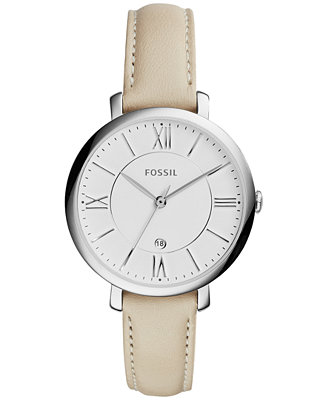 fossil s jacqueline white leather 36mm