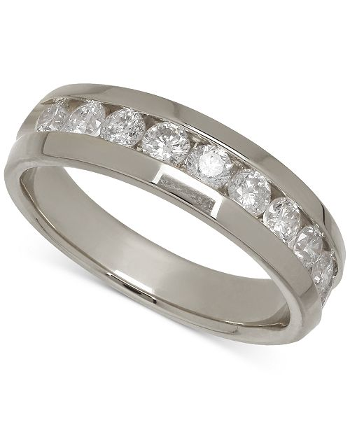 Macy's Men's Diamond Band in 14k White Gold (1 ct. t.w.)