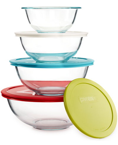 pyrex 8 piece mixing bowl set with colored lids only at macy 39 s bakeware kitchen macy 39 s. Black Bedroom Furniture Sets. Home Design Ideas