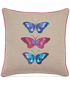 """bluebellgray Embroidered Butterflies Linen 16"""" Square Decorative Pillow"""