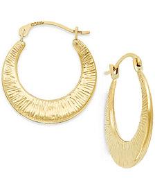 Ribbed Hoop Earrings in 10k Gold, 3/4 inch