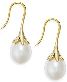 Cultured Freshwater Pearl Drop Earrings in 14K Yellow Gold