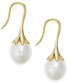 Cultured Freshwater Pearl Drop Earrings in 14K White or Yellow Gold