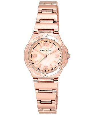 Anne Klein Women's Rose Gold-Tone Adjustable Bracelet Watch 28mm 10/8654RMRG