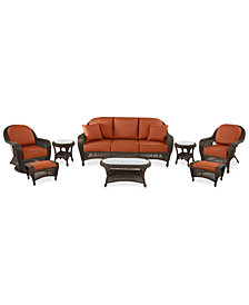Monterey Outdoor Wicker 8-Pc. Seating Set (1 Sofa, 1 Swivel Chair, 1 Club Chair, 2 Ottomans, 2 End Tables & 1 Coffee Table) with Custom Sunbrella®, Created for Macy's