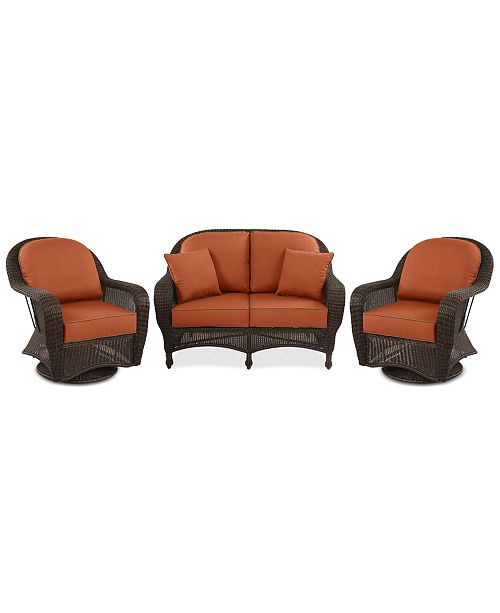 Astonishing Monterey Outdoor Wicker 3 Pc Seating Set 1 Loveseat 2 Swivel Chairs With Custom Sunbrella Created For Macys Alphanode Cool Chair Designs And Ideas Alphanodeonline