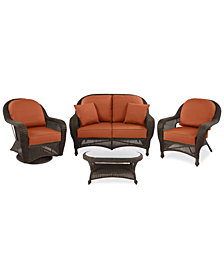 Monterey Outdoor Wicker 4-Pc. Seating Set (1 Loveseat, 1 Club Chair, 1 Swivel Chair & 1 Coffee Table) with Custom Sunbrella®,  Created for Macy's