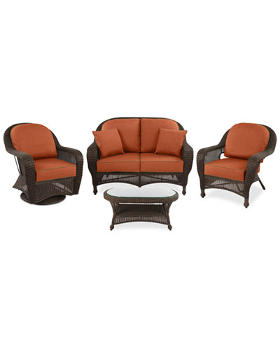 monterey outdoor wicker 4 pc seating set 1 loveseat 1 club chair
