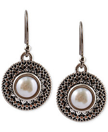 Lucky Brand Silver-Tone Freshwater Pearl Small Drop Earrings