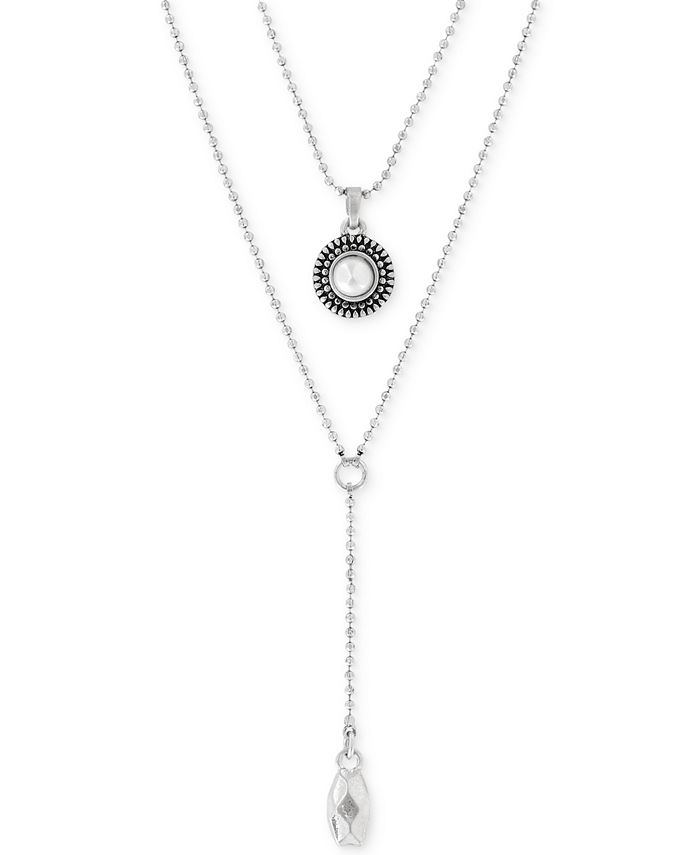 Lucky Brand - Silver-Tone Freshwater Pearl Two-Row Y Long Necklace