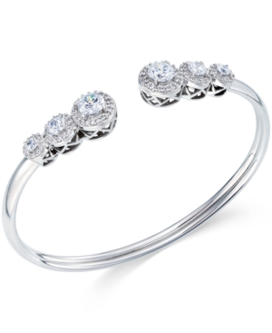 Cubic Zirconia Bangle Bracelet in Sterling Silver