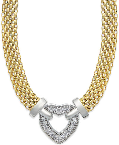 Diamond Heart Necklace in 14k Gold Vermeil and Sterling Silver (1/8 ct. t.w.)