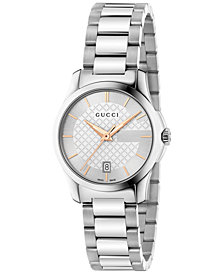 Gucci Women's Swiss G-Timeless Stainless Steel Bracelet Watch 27mm YA126523