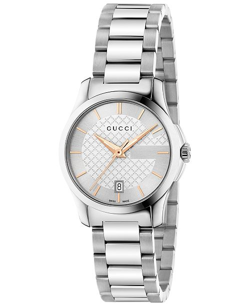 fe4b4b653dd ... Gucci Women s Swiss G-Timeless Stainless Steel Bracelet Watch 27mm  YA126523 ...