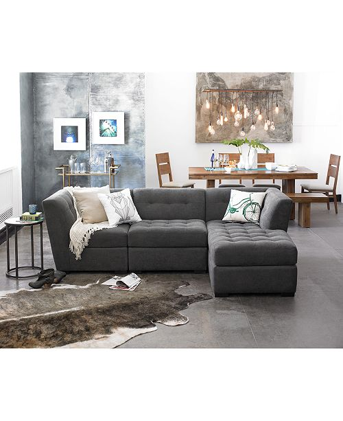 Furniture CLOSEOUT! Roxanne Fabric Modular Living Room Furniture ...