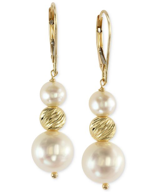 EFFY Collection EFFY Cultured Freshwater Pearl Drop Earrings in 14k Gold (5-1/2mm and 11mm)