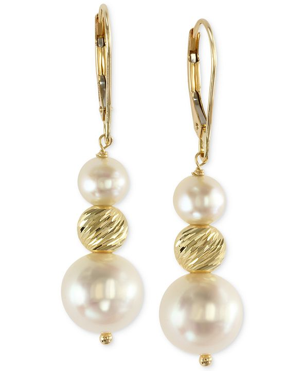 EFFY Collection EFFY® Cultured Freshwater Pearl Drop Earrings in 14k Gold (5-1/2mm and 11mm)