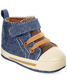 First Impressions Baby Boys High-Top Denim Sneakers, Created for Macy's