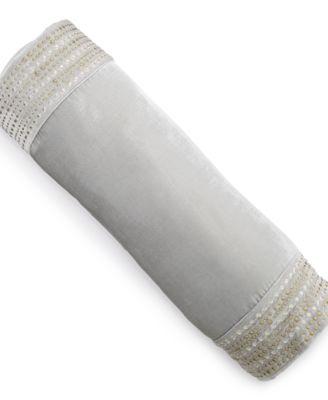 "CLOSEOUT! Finest Silver Leaf 7.5"" x 24"" Decorative Pillow"