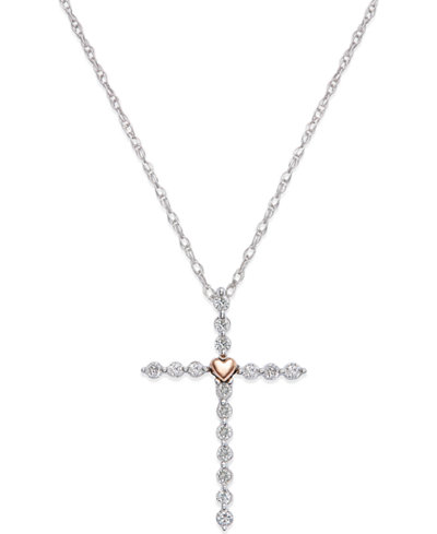 Diamond (1/4 ct. t.w.) Cross Necklace in Sterling Silver and 14k Plated Gold
