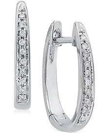 Diamond (1/10 ct. t.w.) Channel-Set Hoop Earrings in 14K White Gold