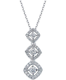 Diamond Graduated Pendant Necklace in 14k White Gold (1/2 ct. t.w.)