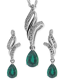 Emerald (3/4 ct. t.w.) and White Topaz (3/8 ct. t.w.) Jewelry Set in Sterling Silver