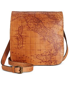 Patricia Nash Granada Map Print Leather Crossbody