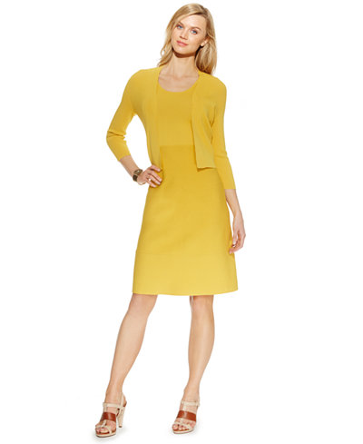 Anne Klein Three-Quarter-Sleeve Cropped Cardigan & Sleeveless A-Line Sweater Dress