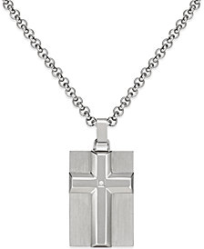 Men's Diamond Accent Raised Cross Pendant Necklace in Stainless Steel