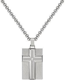 Men's Diamond Accent Raised Cross Pendant Necklace in Stainless Steel