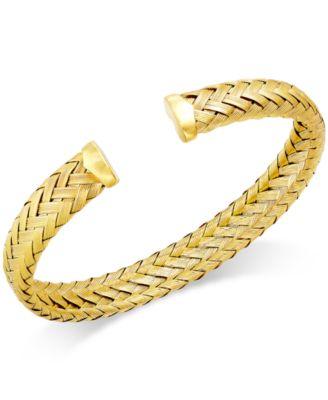 Woven Cuff Bracelet in 14k Gold over Sterling Silver