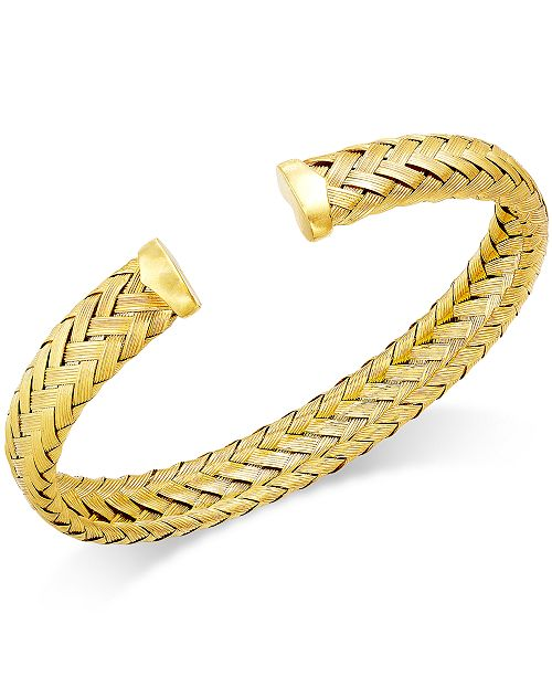 Italian Gold Woven Cuff Bracelet in 14k Gold over Sterling Silver
