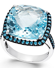 Blue Topaz (12mm) and Swarovski Zirconia Ring in Sterling Silver