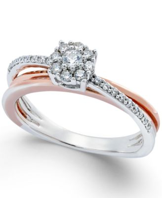Diamond Crossover Promise Ring 14 ct tw in Sterling Silver and