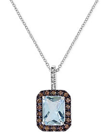 EFFY Aquamarine (1-9/10 ct. t.w.) and Diamond (1/3 ct. t.w.) Pendant Necklace in 14k White Gold