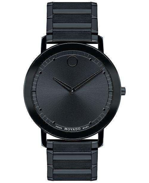 78682e615d39 ... Movado Unisex Swiss Sapphire Black PVD-Finished Stainless Steel  Bracelet Watch 40mm 0606882 ...