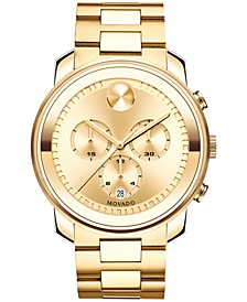 Men's Swiss Chronograph Bold Gold Ion-Plated Stainless Steel Bracelet Watch 44mm 3600278