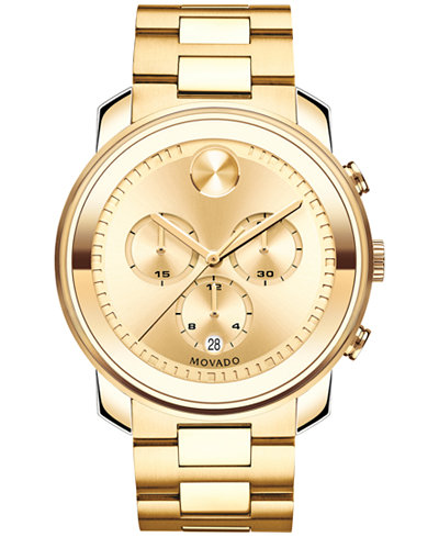 Movado Men S Swiss Chronograph Bold Gold Ion Plated