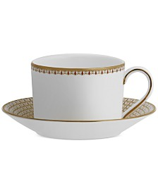 Waterford Lismore Diamond Cinnabar Teacup & Saucer